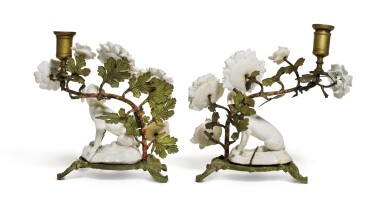 View 2. Thumbnail of Lot 143. A pair of 'Girl-in-a-Swing' porcelain and tole peint-mounted candlesticks, circa 1755, Charles Gouyn's factory, St. James's.