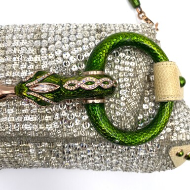 View 3. Thumbnail of Lot 707. GUCCI   TOM FORD SERPENT HEAD CLUTCH BAG IN LIZARD WITH SWAROVSKI CRYSTALS.