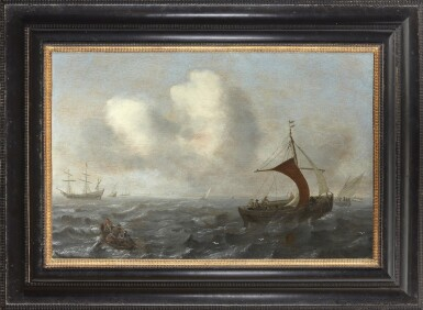 View 2. Thumbnail of Lot 238. CIRCLE OF JAN PORCELLIS | FISHING VESSELS IN CHOPPY WATERS.