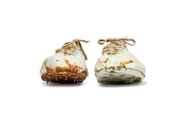 Bill Bowerman Handmade Waffle Spike Shoes and Handwritten Note for John Mays
