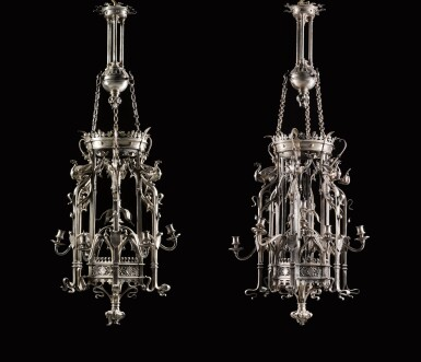 View 1. Thumbnail of Lot 130. A pair of French neo-gothic silvered bronze seven-light lanterns, late 19th century, attributed to Emile Froment Meurice.