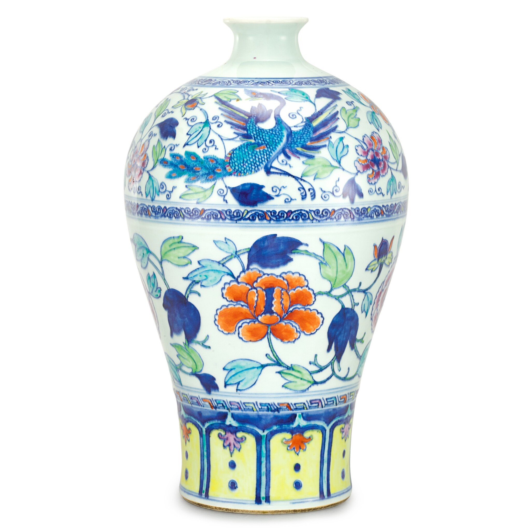 View 1 of Lot 102. A RARE YUAN-STYLE DOUCAI 'PEACOCK AND PEONY' MEIPING QING DYNASTY, YONGZHENG PERIOD | 清雍正 鬪彩瑞鳥牡丹紋梅瓶.