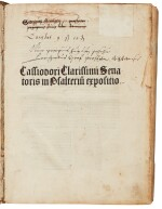 Cassiodorus, Expositio in Psalterium, Basel, 1491, contemporary half stamped pigskin over wooden boards