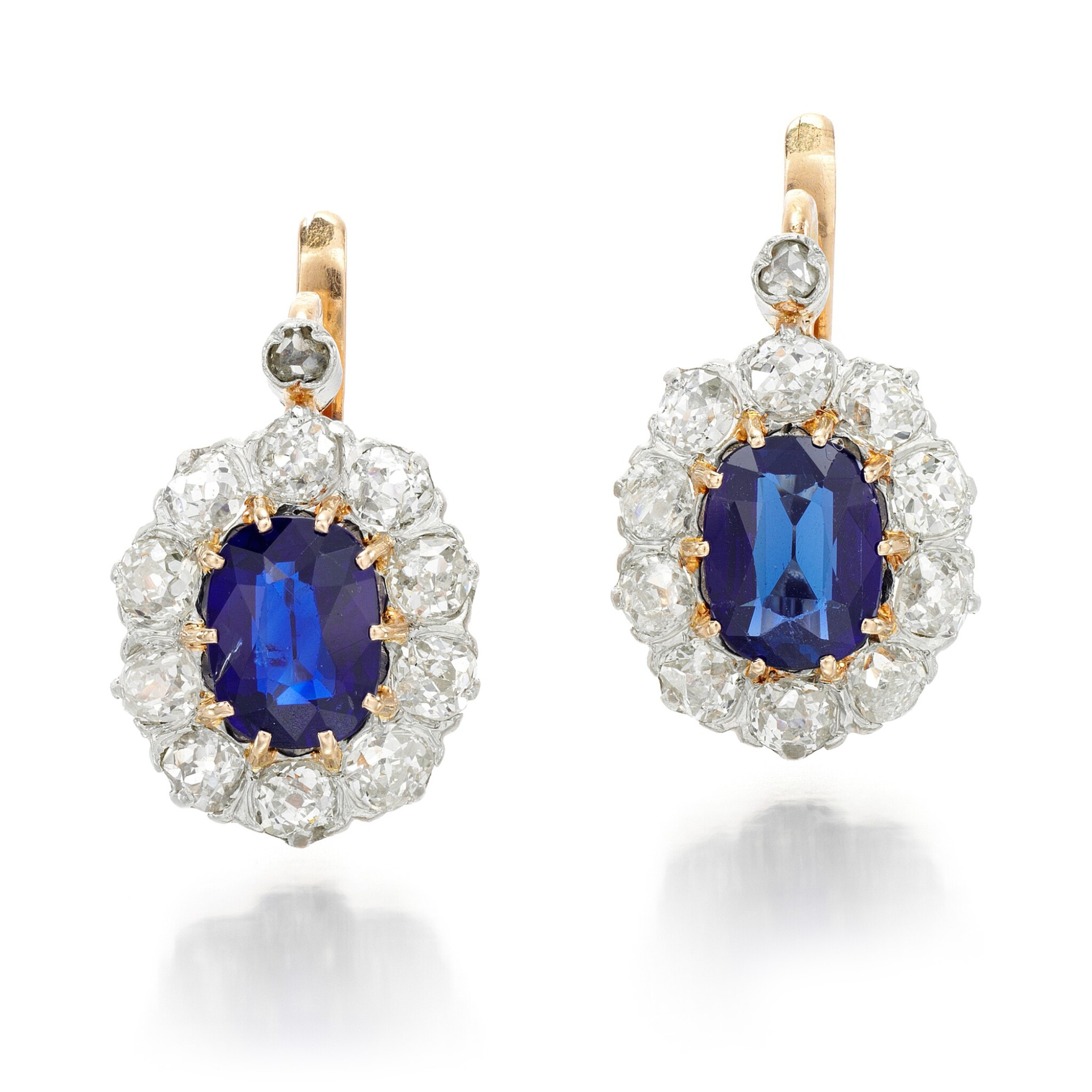 View full screen - View 1 of Lot 72. PAIR OF SAPPHIRE AND DIAMOND EARRINGS.