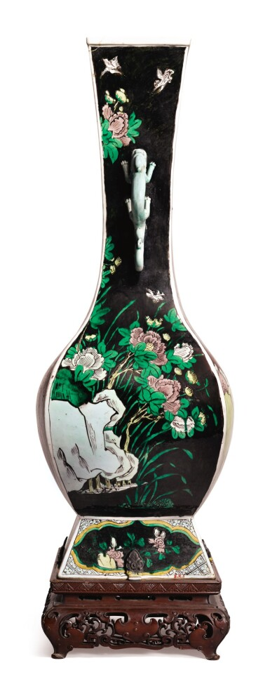 View 2. Thumbnail of Lot 1032.  A FAMILLE-NOIRE 'FLORAL' FANGHU-FORM VASE, QING DYNASTY, 19TH CENTURY.