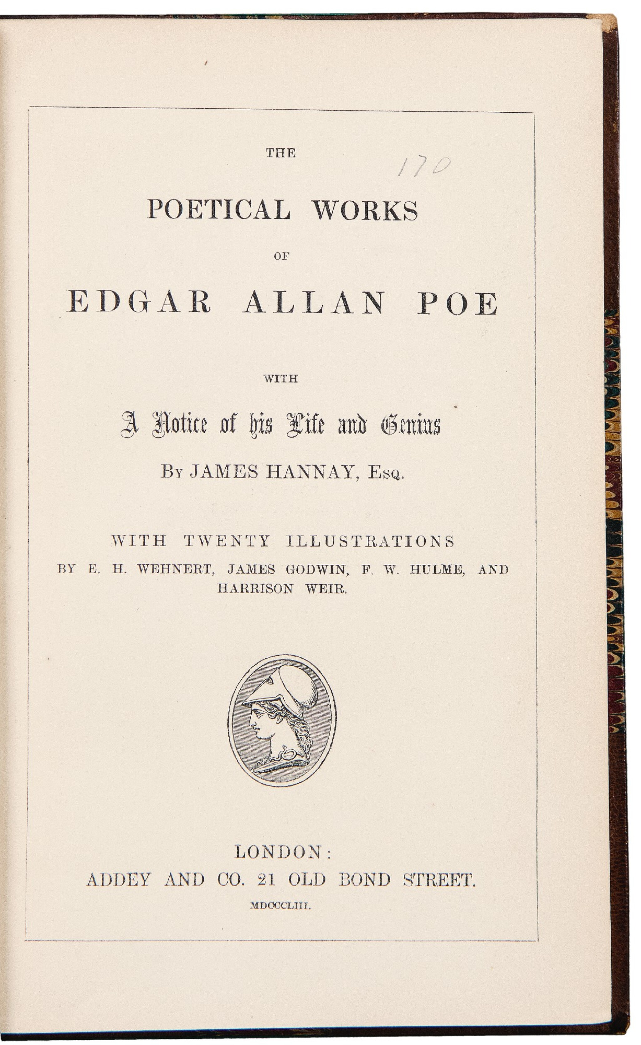 View full screen - View 1 of Lot 49. [Dickens, Charles] — Edgar Allan Poe. Dickens personal copy of Poe's Poetical Works.