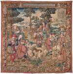 ROMULUS AND REMUS, A NARRATIVE CLASSICAL TAPESTRY, MADRID, WOVEN BY ARTESANÍA ESPAÑOLA DATED MCMXLI (1941), COPY AFTER A 16TH CENTURY (1525-1530) BRUSSELS CARTOON, FROM THE CIRCLE OF BERNARD VAN ORLEY (CA. 1492-1542), BORDER DESIGN AFTER JOSS VAN LIERE