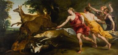 STUDIO OF SIR PETER PAUL RUBENS | Diana and her nymphs hunting | 彼得・保羅・魯本斯爵士畫室 | 《狩獵中的女神黛安娜與仙女》