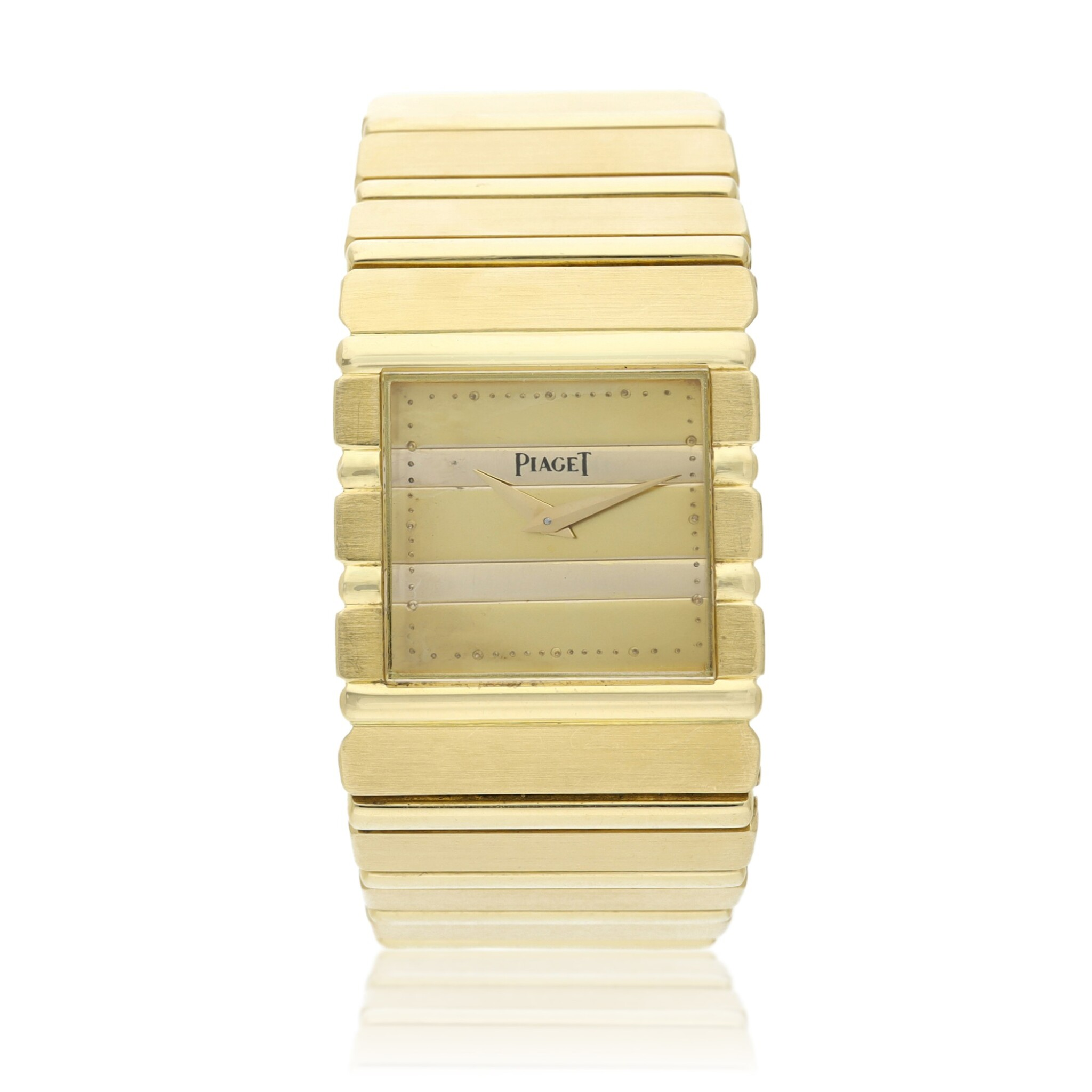 View full screen - View 1 of Lot 30. Reference 7131 C 701 Polo  A yellow gold square shaped bracelet watch, Circa 1985 .