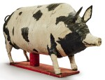 LARGE PAPIER-MACHE STANDING PIG WITH WHITE AND BLACK PAINT DECORATION, CIRCA 1942