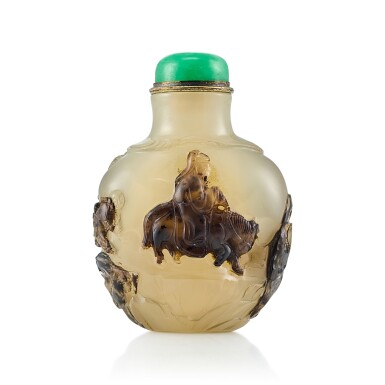 View 1. Thumbnail of Lot 3050. An Inscribed Agate 'Equestrian' Snuff Bottle Suzhou, Qing Dynasty, 18th - 19th Century | 清十八至十九世紀 蘇作瑪瑙巧雕「採梅圖」鼻煙壺.