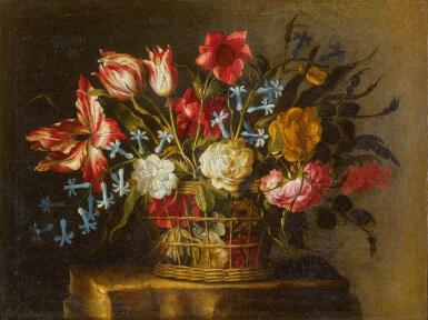 JUAN DE ARELLANO | Still life of tulips, bluebells and other flowers in a basket on a stone pedestal