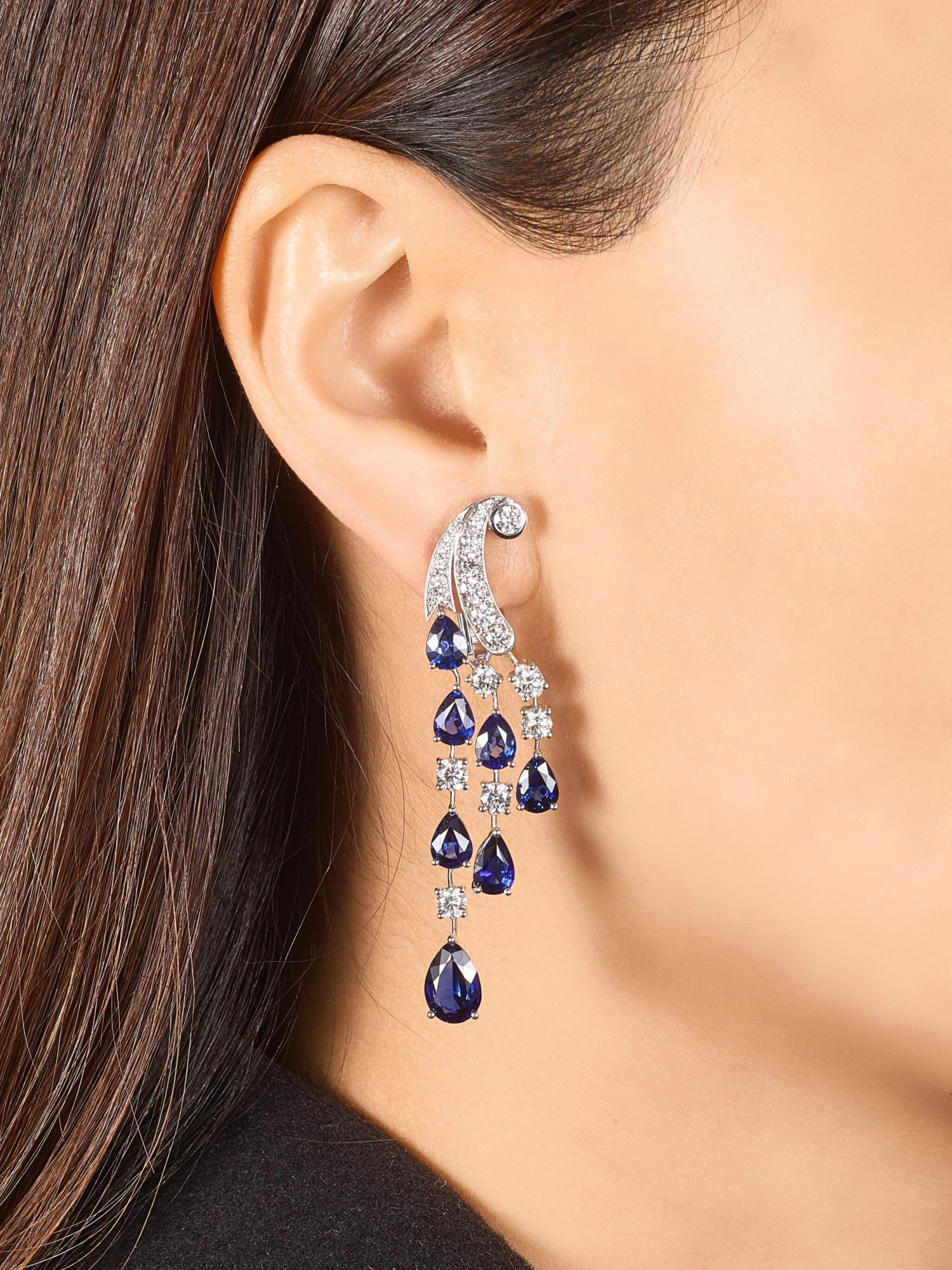 View full screen - View 1 of Lot 1065. Pair of Sapphire and Diamond Earrings | 格拉夫| 藍寶石 配 鑽石 耳墜一對 (藍寶石及鑽石共重約14.00及3.80克拉).