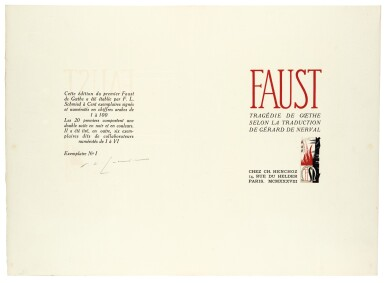 View 2. Thumbnail of Lot 103. Schmied and Goethe. Faust. 1938. 4to. original wrappers.