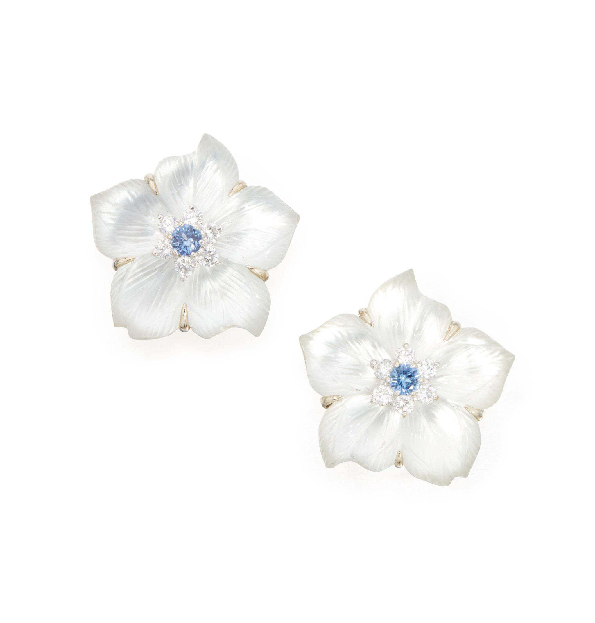 View full screen - View 1 of Lot 37.  PAIR OF ROCK CRYSTAL, MOTHER-OF-PEARL, DIAMOND AND SAPPHIRE EARCLIPS, SEAMAN SCHEPPS.