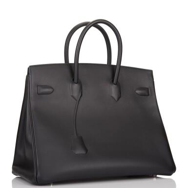 View 3. Thumbnail of Lot 32. Hermès Black Shadow Birkin 35cm of Swift Leather.