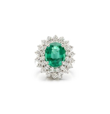 View 1. Thumbnail of Lot 4. EMERALD AND DIAMOND RING.