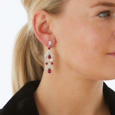 View 4. Thumbnail of Lot 202.  GRAFF | PAIR OF RUBY AND DIAMOND EARRINGS.