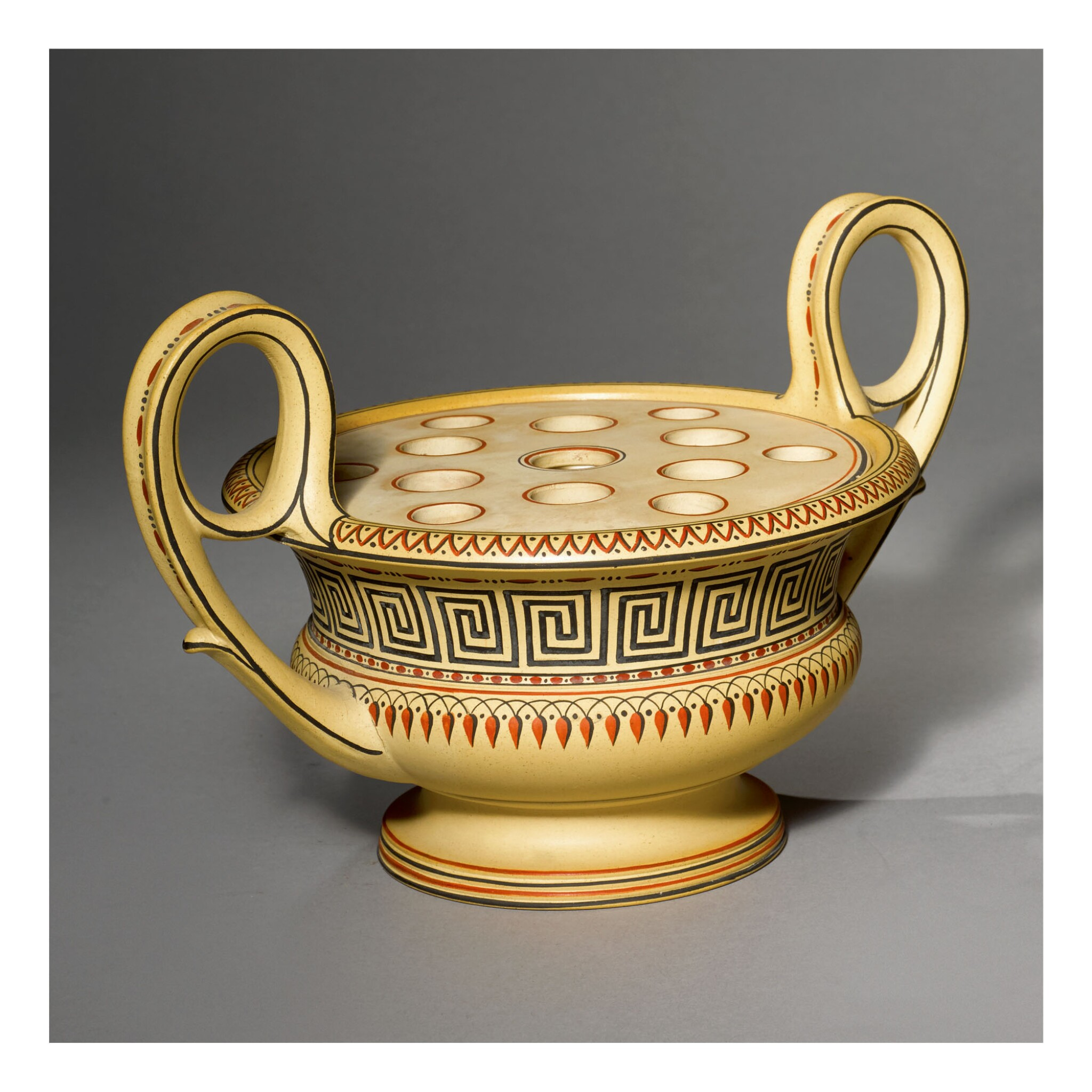A WEDGWOOD CANEWARE TWO-HANDLED KRATER VASE AND PIERCED COVER LATE 18TH CENTURY
