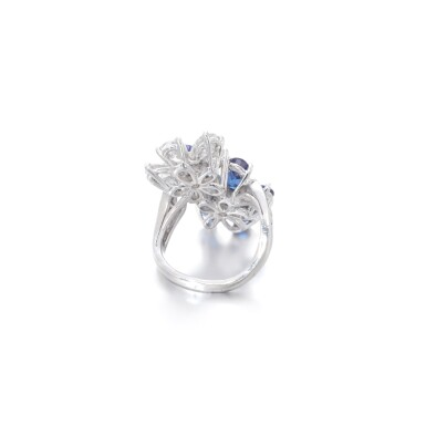 View 3. Thumbnail of Lot 14. Sapphire and diamond ring.
