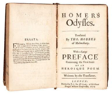 View 2. Thumbnail of Lot 147. Homer, Iliads and Odysses, translated by Hobbes, London, 1676, contemporary calf.