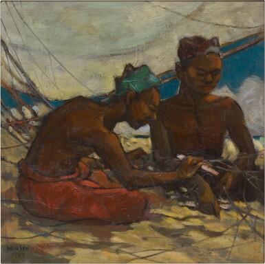 View 1. Thumbnail of Lot 270. YONG MUN SEN 楊曼生   FISHERMEN ON THE BEACH 海灘上的漁民.