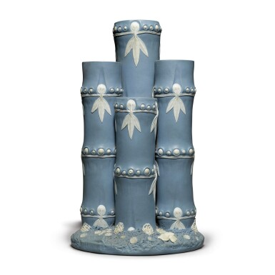 A WEDGWOOD BLUE AND WHITE JASPERWARE 'BAMBOO' VASE LATE 18TH CENTURY