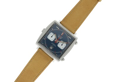 View 7. Thumbnail of Lot 83. HEUER | REFERENCE 1133 MONACO A STAINLESS STEEL RECTANGULAR CHRONOGRAPH WRISTWATCH WITH DATE, CIRCA 1970.