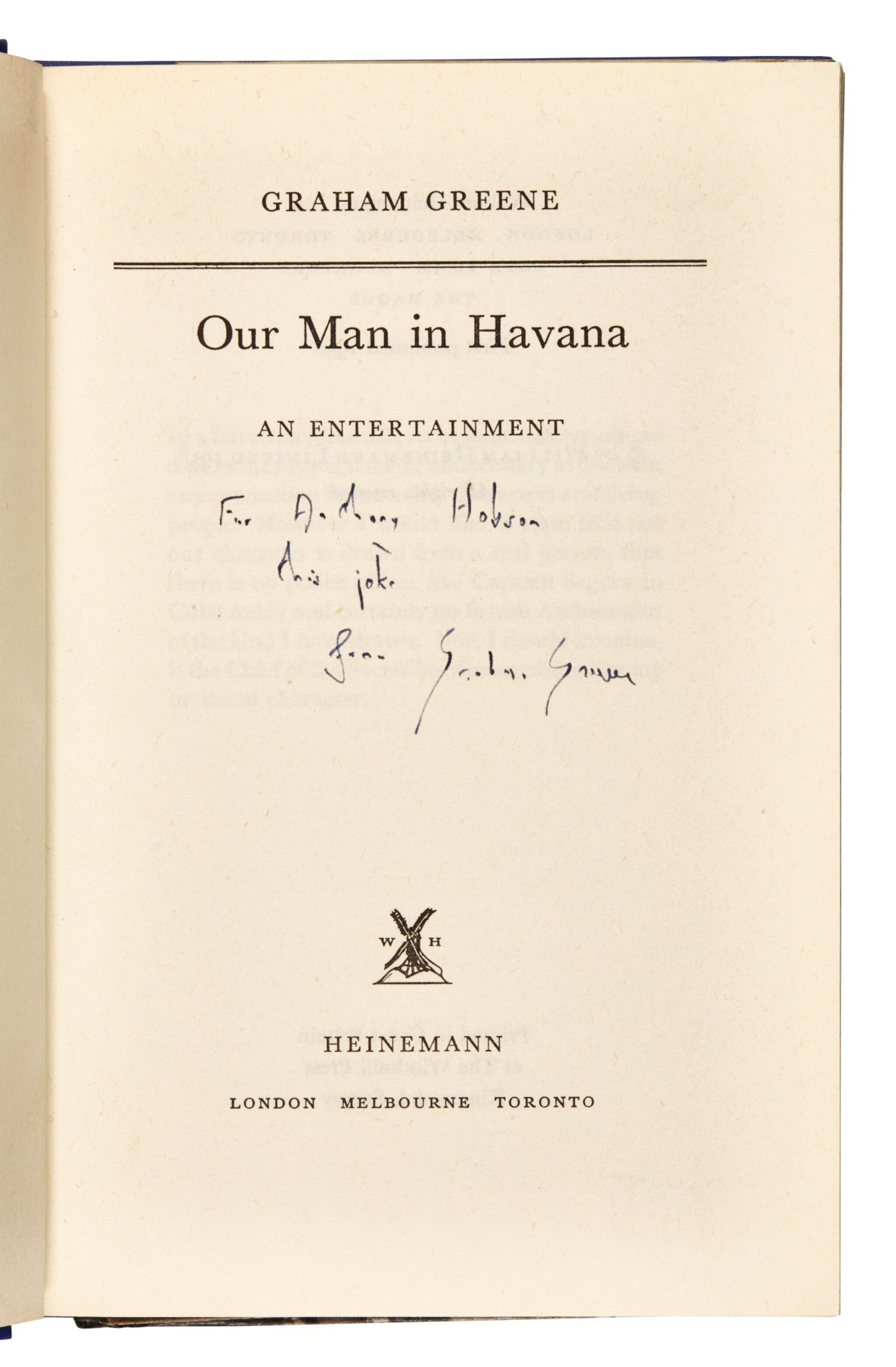 View full screen - View 1 of Lot 98. Greene, Our Man in Havana, 1958, inscribed.