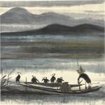 LIN FENGMIAN (1900-1991) | CORMORAN FISHER | 林風眠(1900-1991年) 《漁父圖》 設色紙本 鏡框