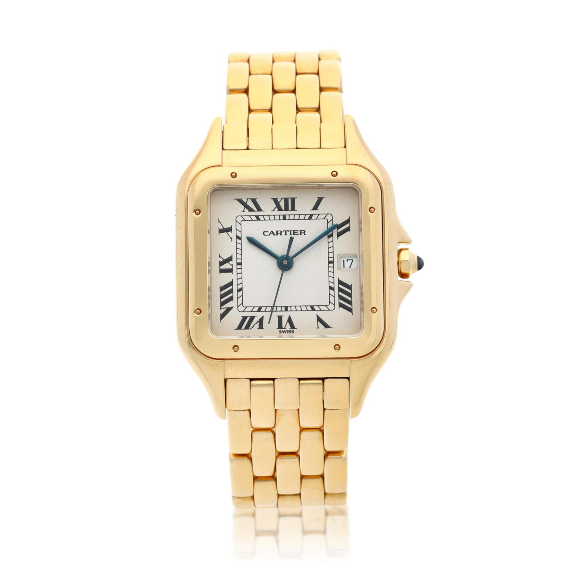 View full screen - View 1 of Lot 21. Panthère  A yellow gold square shaped wristwatch with date and bracelet, Circa 1995 .