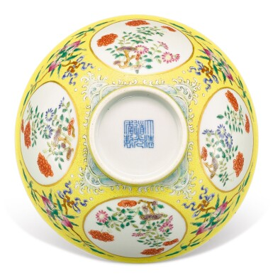 A YELLOW-GROUND FAMILLE-ROSE 'MEDALLION' BOWL SEAL MARK AND PERIOD OF DAOGUANG | 清道光 內青花花卉紋外粉彩黃地軋道開光萬壽牡丹紋盌 《大清道光年製》款