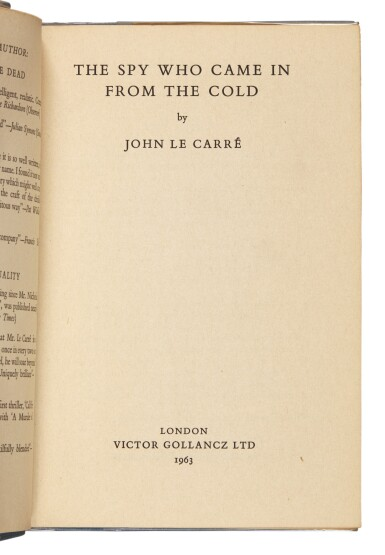 View 2. Thumbnail of Lot 127. Le Carré, The Spy Who Came in from the Cold, 1963.