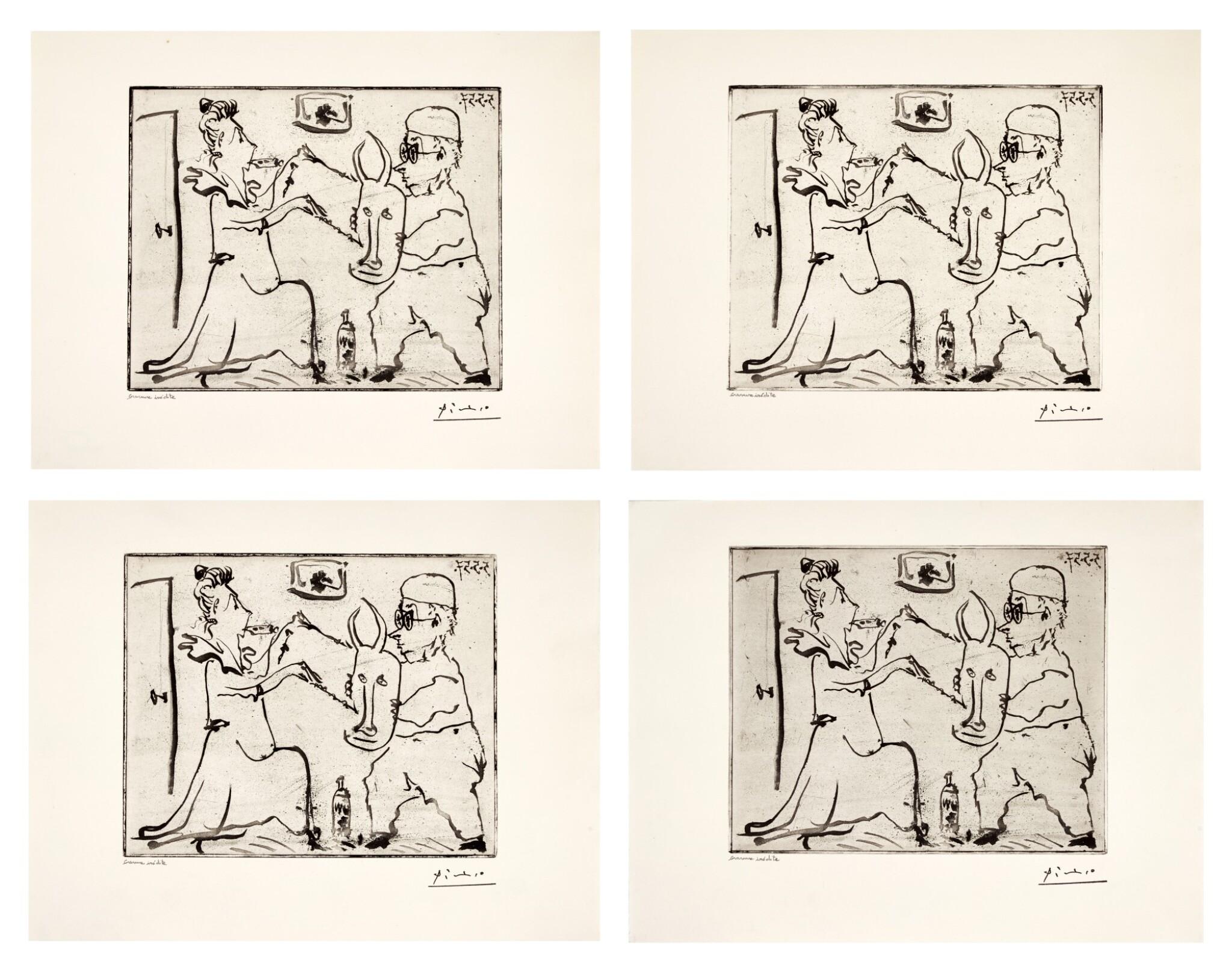 View full screen - View 1 of Lot 146. PABLO PICASSO | FOUR WORKS: HISTOIRE DE SABARTÉS ET DE SA VOISINE: LES BANDERILLES (BA. 968).