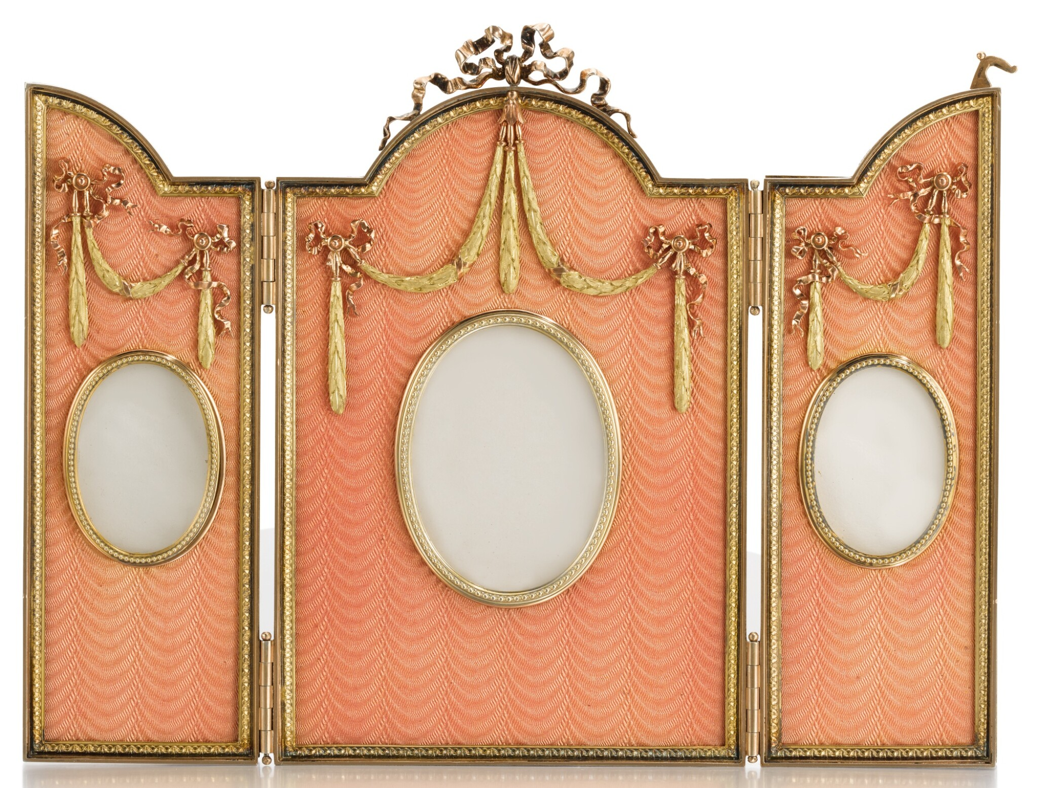 View full screen - View 1 of Lot 309. A FABERGÉ THREE-COLOUR GOLD-MOUNTED SILVER-GILT AND GUILLOCHÉ ENAMEL TRIPTYCH FRAME, WORKMASTER VICTOR AARNE, ST PETERSBURG, 1899-1903.
