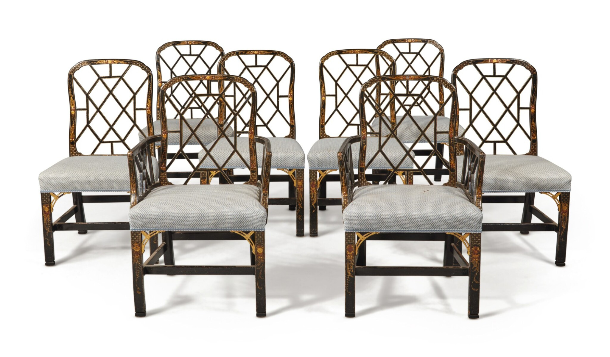 View full screen - View 1 of Lot 4. A Set of Eight English Black and Gilt Japanned Dining Chairs, Late 19th Century.