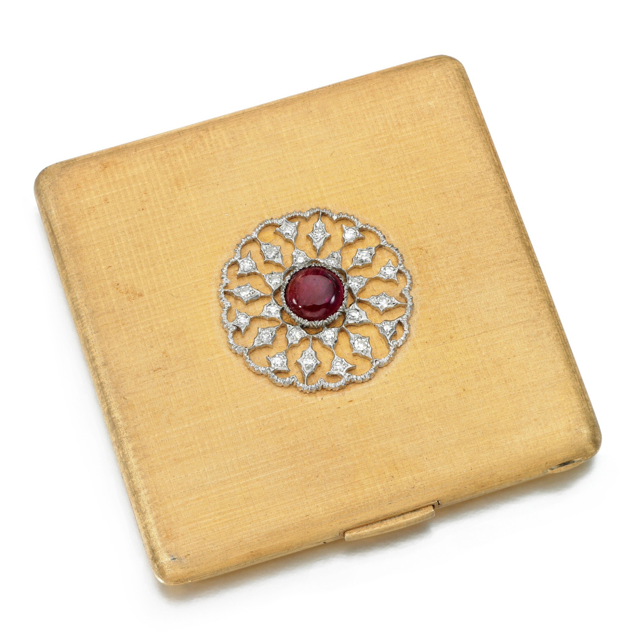 View full screen - View 1 of Lot 127. Buccellati   Ruby and diamond compact.
