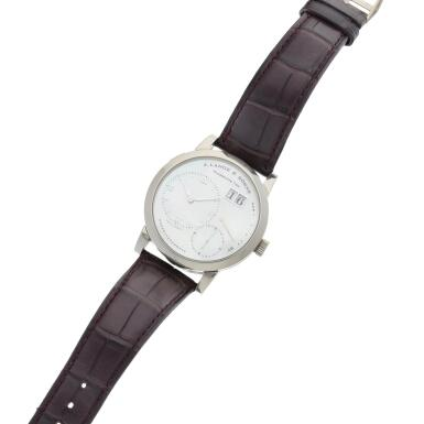 View 6. Thumbnail of Lot 290. Reference 110.029 Lange 1  A white gold wristwatch with date, power reserve indication and mother-of-pearl dial, Circa 2000 .