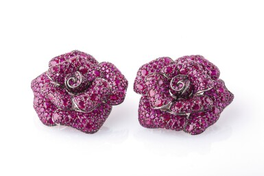 View 1. Thumbnail of Lot 18. Pair of ruby ear clips,Michele della Valle.