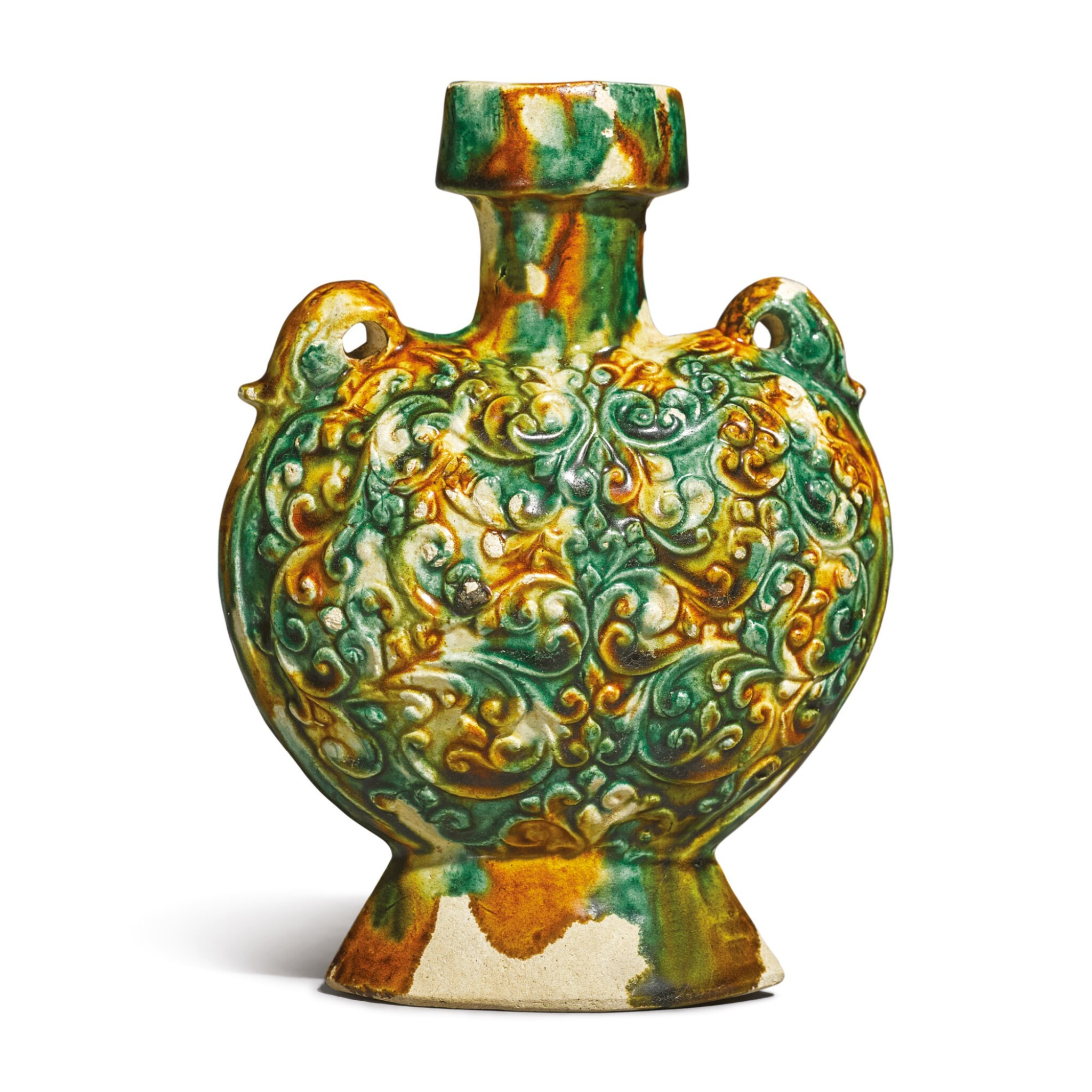 View full screen - View 1 of Lot 689. A MOLDED SANCAI-GLAZED 'PILGRIM' FLASK, TANG DYNASTY.