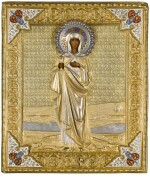 An icon of Mary Magdalen, in a silver-gilt and cloisonné enamel oklad, Orest Kurlykov, Moscow, 1894