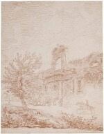 HUBERT ROBERT | VIGNOLA'S GATE TO THE FARNESE GARDENS, ROME, WITH A COACH AND HORSES