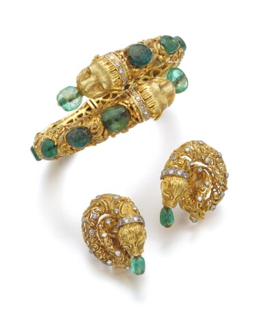GOLD, EMERALD AND DIAMOND DEMI-PARURE | ZOLOTAS, 1960S