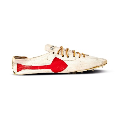 View 4. Thumbnail of Lot 8. Bill Bowerman (Nike Co-Founder) Handmade Prototype Logo Track Spikes With Waffle Sole.