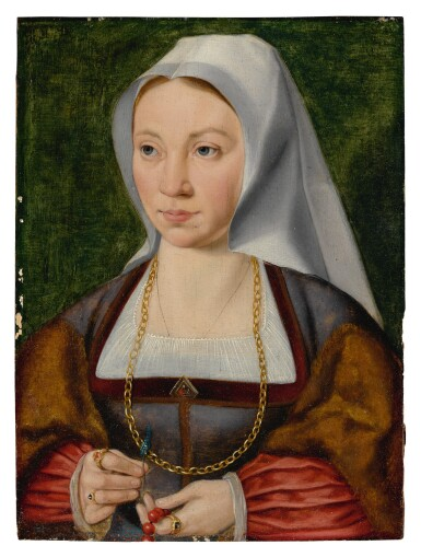 View 1. Thumbnail of Lot 509. ATTRIBUTED TO JOOS VAN CLEVE | PORTRAIT OF A LADY HOLDING A ROSARY AND A FLOWER.