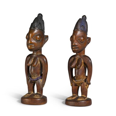 View 4. Thumbnail of Lot 151. Nigeria, Yoruba Peoples, circa 1900   Ere Ibeji Figures.