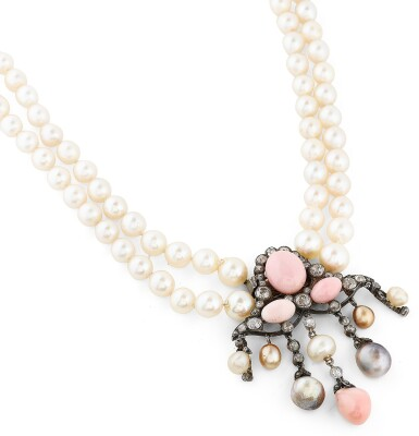 View 4. Thumbnail of Lot 11. COLLIER PERLES FINES, PERLES DE CULTURE ET DIAMANTS | NATURAL PEARL, CULTURED PEARL AND DIAMOND NECKLACE.