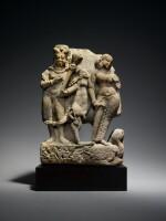 A Sandstone Group of Shiva as Bhairava with River Goddess Ganga, Central India, 8th/9th Century