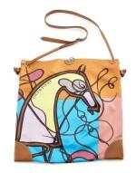 Printed silk and brown leather with palladium hardware shoulder bag, Silkcity Sac, Hermès, 2014