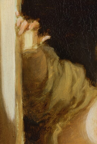 View 2. Thumbnail of Lot 73. JEAN HONORÉ FRAGONARD | A YOUNG WOMAN LEANING OUT OF A WINDOW.